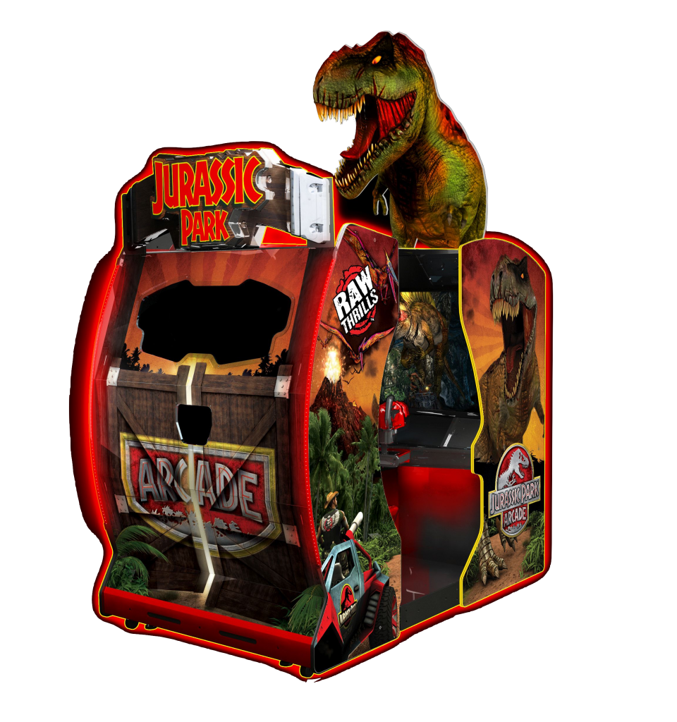 Jurassic-Park-Arcade-Environmental-Cabinet-with-T-Rex-Head
